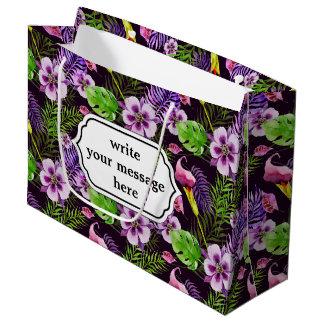 Schwarzes lila tropisches Flora Watercolormuster Große Geschenktüte