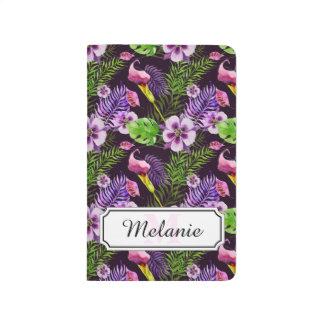 Schwarzes lila tropisches Flora Watercolormuster Taschennotizbuch