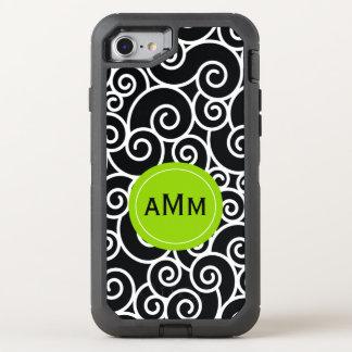 Schwarzes Limones grünes Monogramm OtterBox Defender iPhone 8/7 Hülle