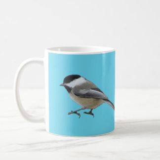 Schwarzes mit einer Kappe bedeckter Chickadee Kaffeetasse