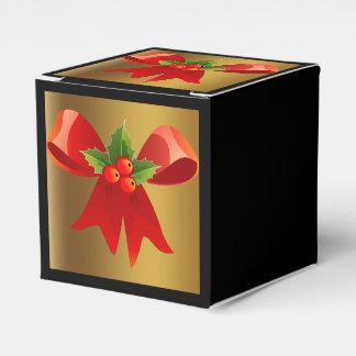 Schwarzes mit gebürstetem Gold und rotem Geschenkschachtel