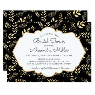 Schwarzes mit GoldBlätter-Brautparty laden ein Karte