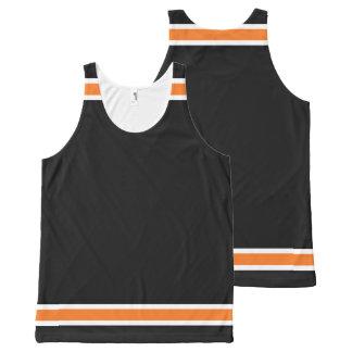 Schwarzes mit orange und weißer Ordnung Komplett Bedrucktes Tanktop