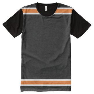 Schwarzes mit orange und weißer Ordnung T-Shirt Mit Komplett Bedruckbarer Vorderseite