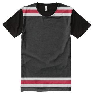 Schwarzes mit roter und weißer Ordnung T-Shirt Mit Komplett Bedruckbarer Vorderseite