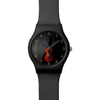Schwarzes mit Violinen-Musik-Uhr Uhren
