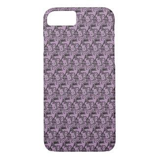 Schwarzes nahtloses Muster (Flieder) - iPhone 6 iPhone 8/7 Hülle