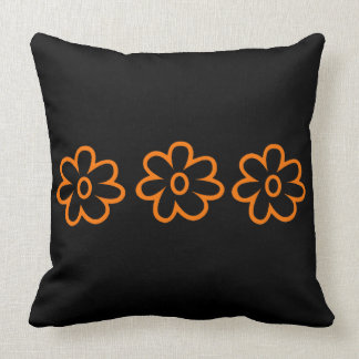 Schwarzes orange BlumenWurfs-Kissen Kissen