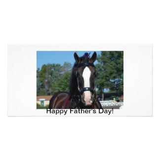 schwarzes Pferd des Singles Fotokartenvorlagen