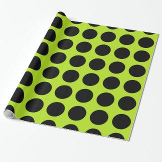 Schwarzes Polka-Punkt-Limones Grün Geschenkpapier
