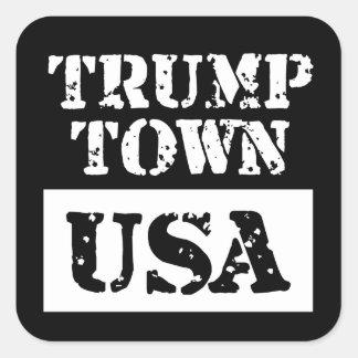 Schwarzes Quadrat-Aufkleber Trumpf-Stadt-USA Quadratischer Aufkleber