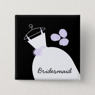 Schwarzes Quadrat der Hochzeits-Kleiderlila Quadratischer Button 5,1 Cm