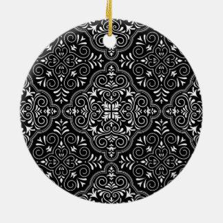 Schwarzes Rokoko-Muster blühen Keramik Ornament