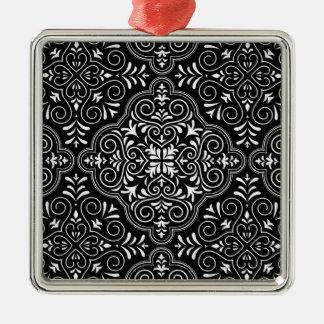 Schwarzes Rokoko-Muster blühen Silbernes Ornament
