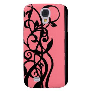 Schwarzes/rosa Blumenmuster Galaxy S4 Hülle