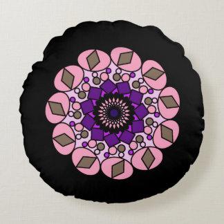 Schwarzes rosa lila kosmisches Neonkissen Rundes Kissen