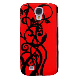 Schwarzes/rotes Blumenmuster Galaxy S4 Hülle
