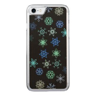 Schwarzes Schneeflocke-Aufregungs-Muster Carved iPhone 8/7 Hülle