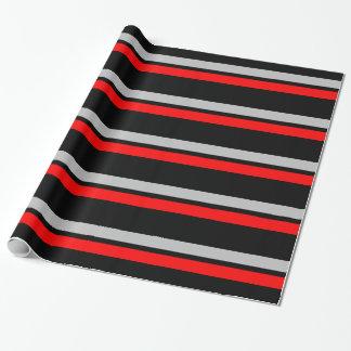 Schwarzes Silber u. rote horizontale Streifen Geschenkpapier