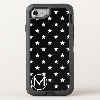 Schwarzes Stern-Monogramm OtterBox Defender iPhone 7 Hülle