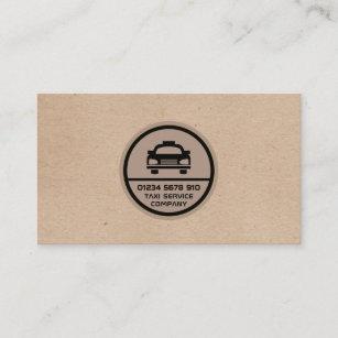 Schwarzes Taxi-Logo, Packpapier-Effekt-Preisliste Visitenkarte