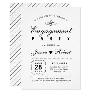 Schwarzes u. elegantes Verlobungs-Party des Weiß-  Karte
