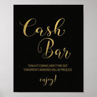 Schwarzes u. Goldbargeld-Bar-Zeichen Poster