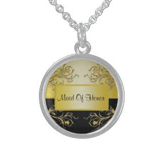 Schwarzes u. Goldblühende Rebe-Monogramm-Hochzeit Sterling Silberkette