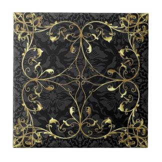 Schwarzes u. Goldelegantes Blumendamast-Muster 2 Fliese