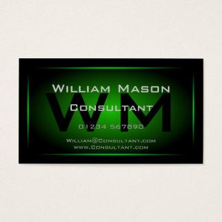 Schwarzes u. grünes gerahmtes Monogramm - Visitenkarte