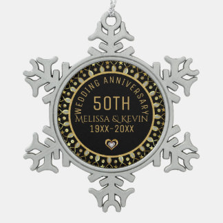 Schwarzes u. Hochzeitstag-Schablone des Gold50. Schneeflocken Zinn-Ornament