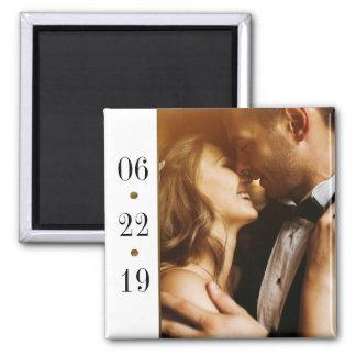 Schwarzes u. kundenspezifische Foto-Hochzeit des Quadratischer Magnet