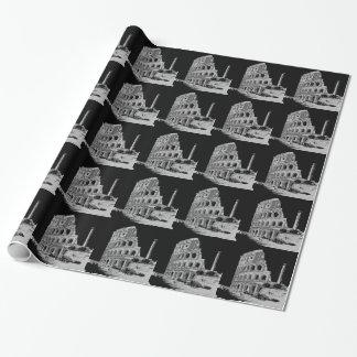 Schwarzes u. weißes Colosseum Geschenkpapier