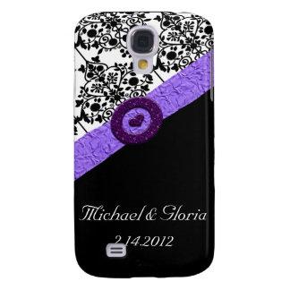 Schwarzes u. weißes Damast-Lavendel-Schein-Herz Galaxy S4 Hülle