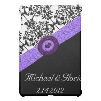 Schwarzes u. weißes Damast-Lavendel-Schein-Herz iPad Mini Hülle