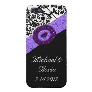 Schwarzes u. weißes Damast-Lavendel-Schein-Herz iPhone 5 Case