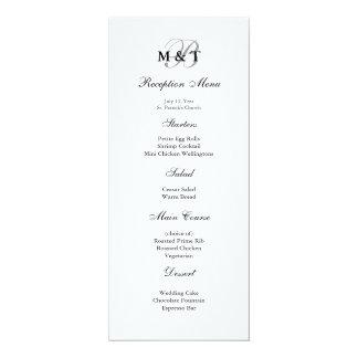 Schwarzes u. weißes Mattmonogramm-Hochzeits-Menü 10,2 X 23,5 Cm Einladungskarte