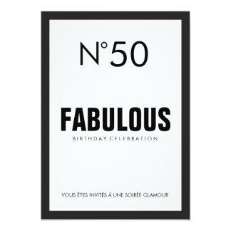 Schwarzes u. weißes PARIS-Thema-FABELHAFTER 50. 12,7 X 17,8 Cm Einladungskarte