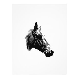 Schwarzes u. weißes Pop-Kunst-Pferd 21,6 X 27,9 Cm Flyer