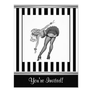 Schwarzes u. weißes Streifen-Pin-up-Girl 19 Karte