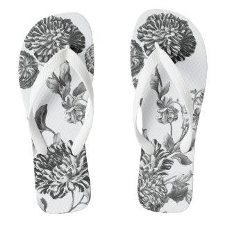 Schwarzes u. weißes Vintages botanisches Flip Flops