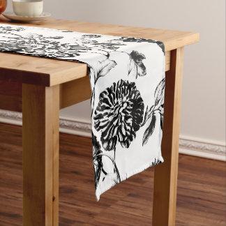 Schwarzes u. weißes Vintages botanisches Kurzer Tischläufer