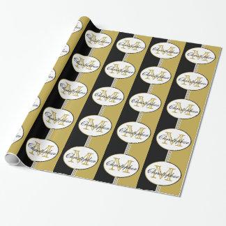 Schwarzes und antikes Gold Stripes Monogramm Geschenkpapier
