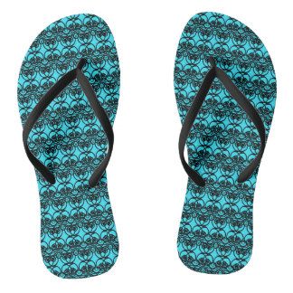 Schwarzes und Aqua-blaues Spitze-Strudel-Muster Flip Flops