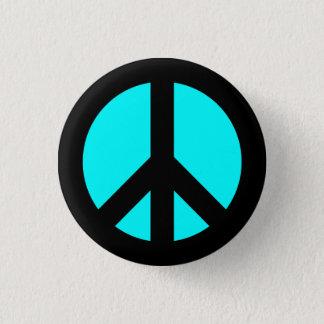 Schwarzes und Aqua-Friedenssymbol-Knopf Runder Button 3,2 Cm