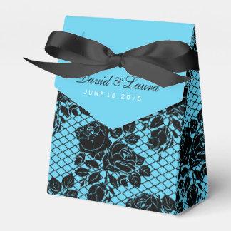 Schwarzes und aquamarine blaue Hochzeit Geschenkkartons
