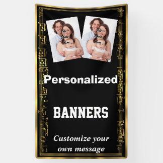 Schwarzes und Gold mit Fotoschablone der Banner