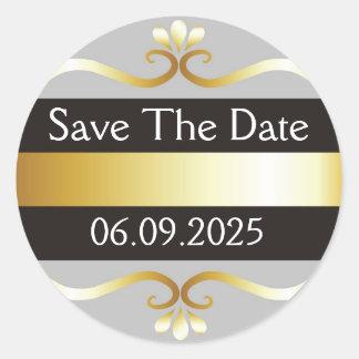 Schwarzes und Gold Save the Date Runder Aufkleber