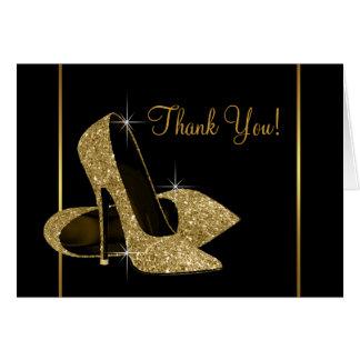 Schwarzes und GoldAbsatz-Schuh danken Ihnen Mitteilungskarte