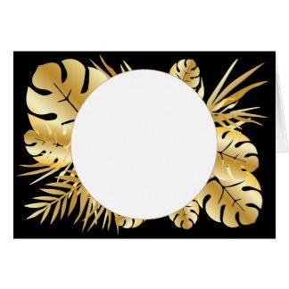 Schwarzes und Goldelegante tropische Grußkarte